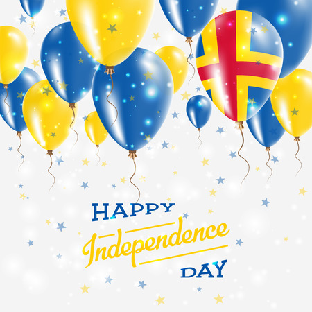 Aland Islands Vector Patriotic Poster. Independence Day Placard with Bright Colorful Balloons of Country National Colors. Aland Islands Independence Day Celebration.