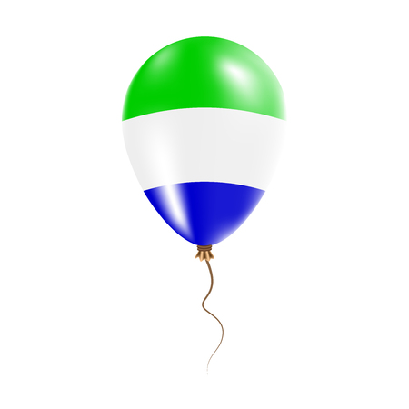 Sierra Leone balloon with flag. Bright Air Ballon in the Country National Colors. Country Flag Rubber Balloon. Vector Illustration.