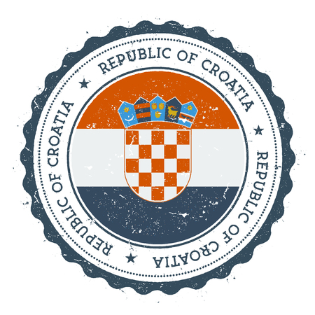 Grunge rubber stamp with Croatia flag. Vintage travel stamp with circular text, stars and national flag inside it. Vector illustration.