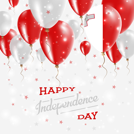 Malta Vector Patriotic Poster. Independence Day Placard with Bright Colorful Balloons of Country National Colors. Malta Independence Day Celebration.