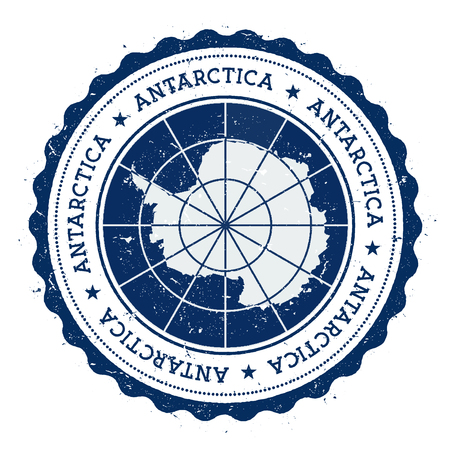 Grunge rubber stamp with Antarctica flag. Vintage travel stamp with circular text, stars and national flag inside it. Vector illustration. 일러스트
