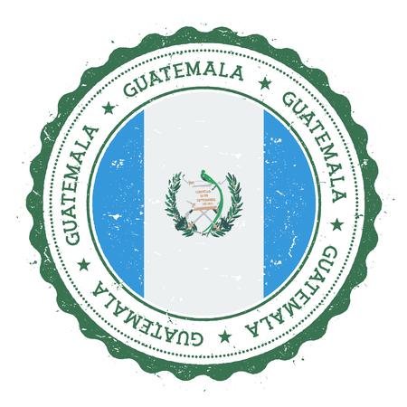 Grunge Rubberstempel met vlag van Guatemala. Vintage reiszegel met cirkelvormige tekst, sterren en nationale vlag erin. Vector illustratie