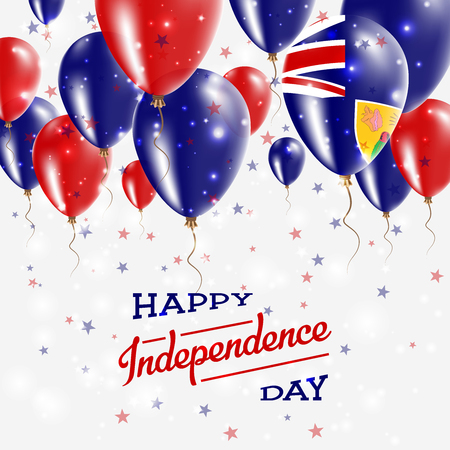 Turks and Caicos Islands Vector Patriotic Poster. Independence Day Placard with Bright Colorful Balloons of Country National Colors. Turks and Caicos Islands Independence Day Celebration. Illustration