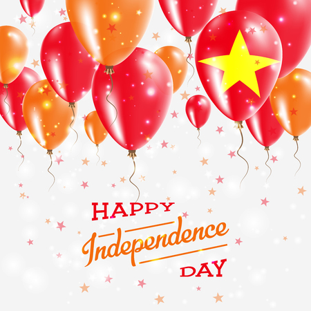 Vietnam Vector Patriotic Poster. Independence Day Placard with Bright Colorful Balloons of Country National Colors. Vietnam Independence Day Celebration.