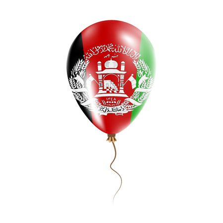 Afghanistan balloon with flag. Bright air balloon in the country national colors. Country flag rubber balloon. Vector illustration.