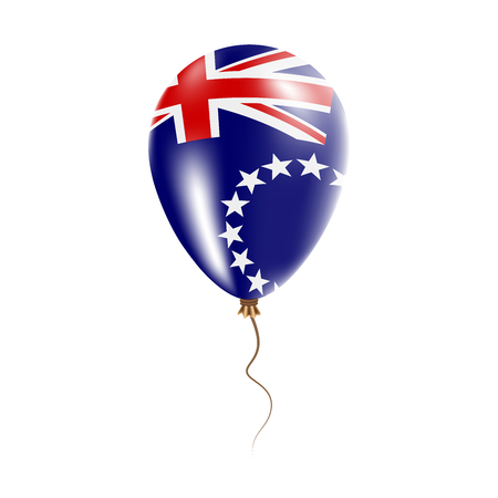 Cook Islands balloon with flag. Bright air balloon in the country national colors. Country flag rubber balloon. Vector illustration. Illustration
