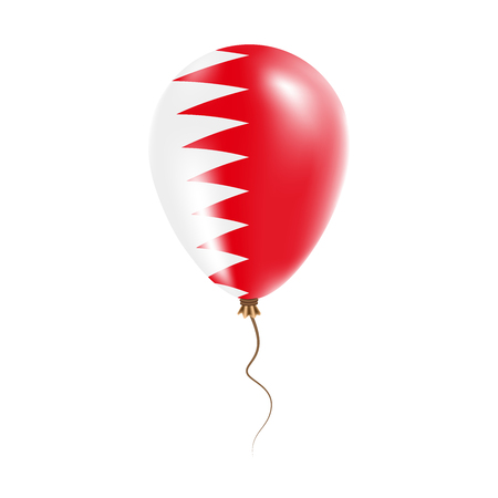Bahrain balloon with flag. Bright Air Balloon in the Country National Colors. Country Flag Rubber Balloon. Vector Illustration.