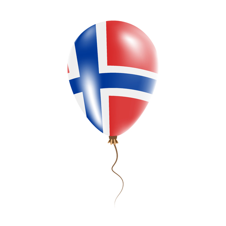 Svalbard and Jan Mayen balloon with flag. Bright air balloon in the country national colors. Country flag rubber balloon. Vector illustration.