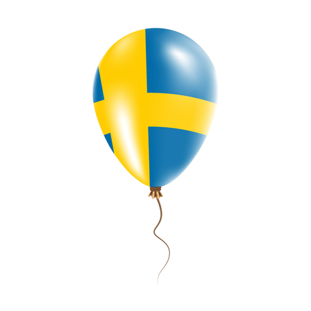 Sweden balloon with flag. Bright Air Balloon in the Country National Colors. Country Flag Rubber Balloon. Vector Illustration. Ilustração