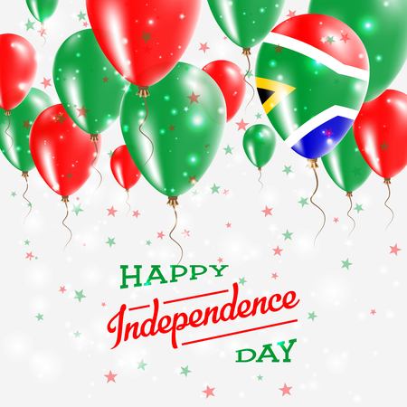South Africa Vector Patriotic Poster. Independence Day Placard with Bright Colorful Balloons of Country National Colors. South Africa Independence Day Celebration. Иллюстрация