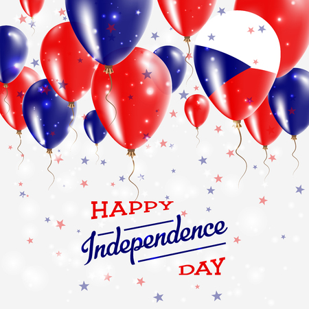 Czech Republic Vector Patriotic Poster. Independence Day Placard with Bright Colorful Balloons of Country National Colors. Czech Republic Independence Day Celebration.