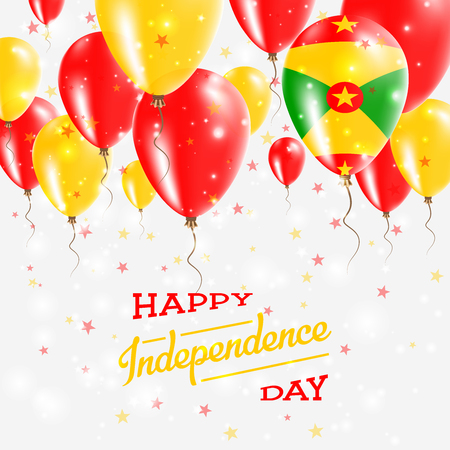 Grenada Vector Patriotic Poster. Independence Day Placard with Bright Colorful Balloons of Country National Colors. Grenada Independence Day Celebration.