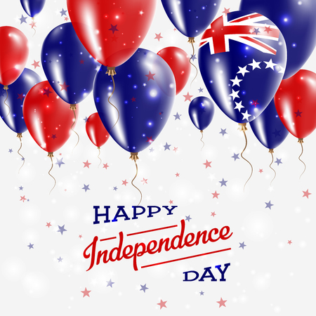 Independence Day celebration with red and blue balloons and confetti. Illustration