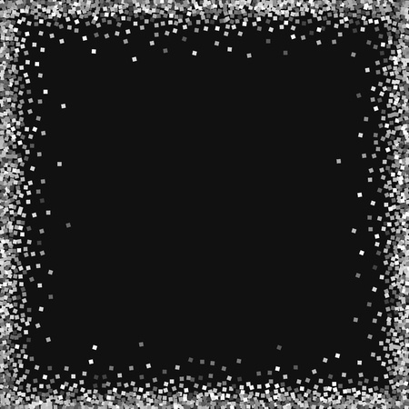 Chaotic frame with silver glitter on black background. Alluring vector illustration.