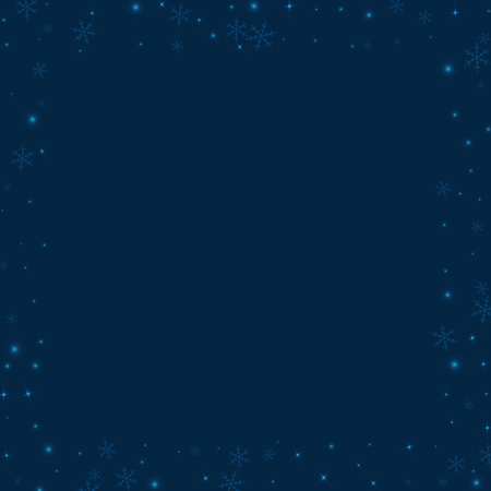 Square scattered border with sparse glowing snow on deep blue background.