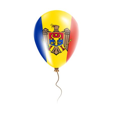 Moldávia, República do balão com bandeira. Balão de ar brilhante nas cores nacionais do país. Balão De Borracha Da Bandeira De País. Ilustração vetorial. Ilustración de vector