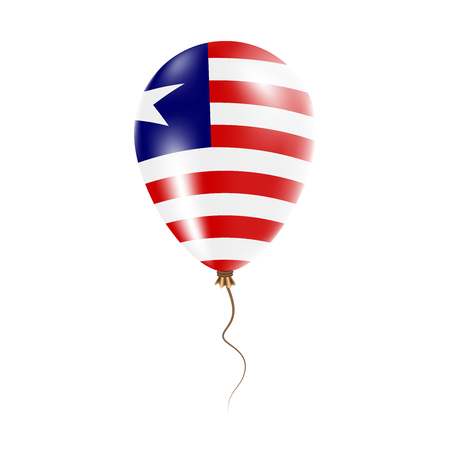 Liberia balloon with flag. Bright Air Ballon in the Country National Colors. Country Flag Rubber Balloon. Vector Illustration. Illustration
