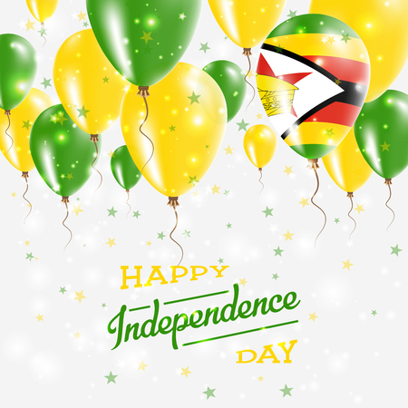 Zimbabwe Vector Patriotic Poster. Independence Day Placard with Bright Colorful Balloons of Country National Colors. Zimbabwe Independence Day Celebration.