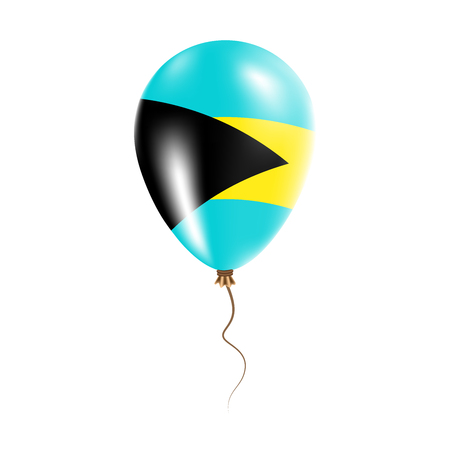 Bahamas balloon with flag. Bright Air Ballon in the Country National Colors. Country Flag Rubber Balloon. Vector Illustration.