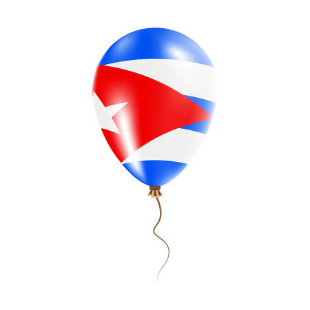 Cuba balloon with flag. Bright Air Ballon in the Country National Colors. Country Flag Rubber Balloon. Vector Illustration.