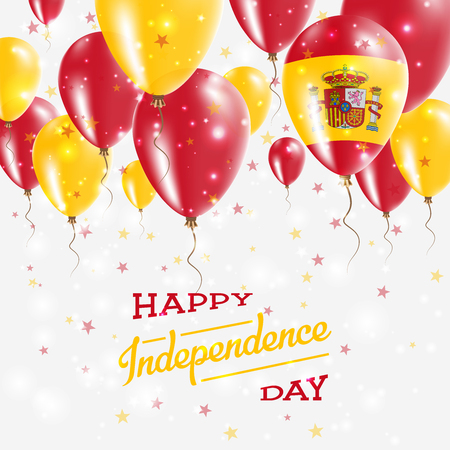 Spain Vector Patriotic Poster. Independence Day Placard with Bright Colorful Balloons of Country National Colors. Spain Independence Day Celebration. Illustration