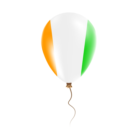 Cote DIvoire balloon with flag. Bright Air Ballon in the Country National Colors. Country Flag Rubber Balloon. Vector Illustration.