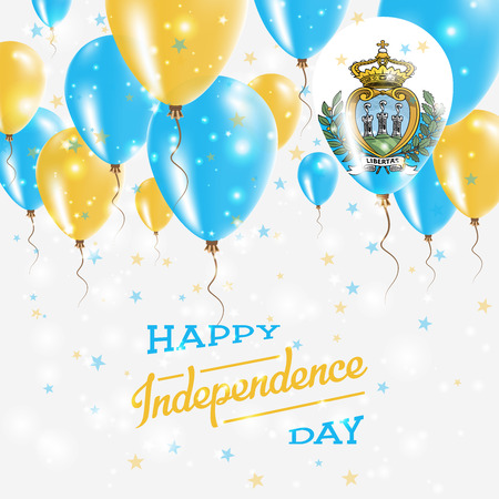 San Marino Vector Patriotic Poster. Independence Day Placard with Bright Colorful Balloons of Country National Colors. San Marino Independence Day Celebration.