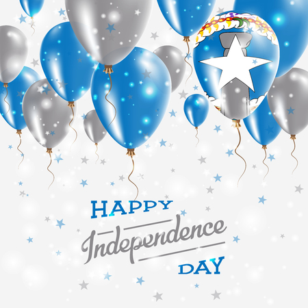 Northern Mariana Islands Vector Patriotic Poster. Independence Day Placard with Bright Colorful Balloons of Country National Colors. Northern Mariana Islands Independence Day Celebration.