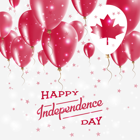 Canada Vector Patriotic Poster. Independence Day Placard with Bright Colorful Balloons of Country National Colors. Canada Independence Day Celebration.