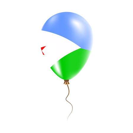 Djibouti balloon with flag. Bright Air Ballon in the Country National Colors. Country Flag Rubber Balloon. Vector Illustration.