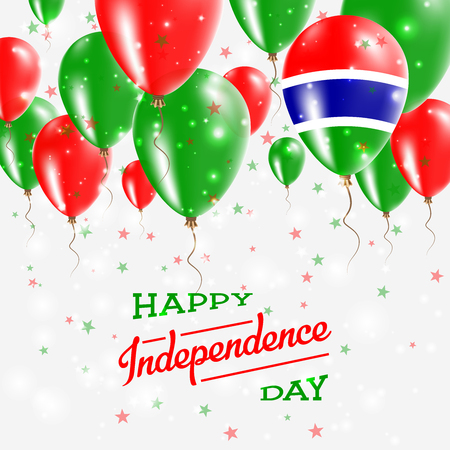 Gambia Vector Patriotic Poster. Independence Day Placard with Bright Colorful Balloons of Country National Colors. Gambia Independence Day Celebration.