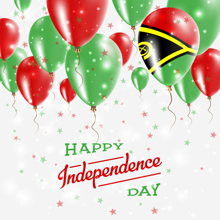 Vanuatu Vector Patriotic Poster. Independence Day Placard with Bright Colorful Balloons of Country National Colors. Vanuatu Independence Day Celebration.