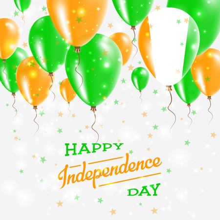Cote D'Ivoire vector patriotic poster. Independence Day placard with bright colorful balloons of country national colors. Cote D'Ivoire Independence Day celebration.