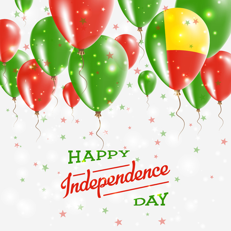 Independence Day Placard with Bright Colorful Balloons of Country National Colors. Benin Independence Day Celebration.