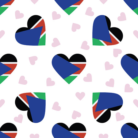 South Sudan independence day seamless pattern. Patriotic background with country national flag in the shape of heart. Vector illustration. Illustration