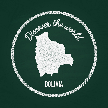 White chalk texture vintage insignia with Plurinational State of Bolivia map on a green blackboard. Grunge rubber seal with country outlines, vector illustration. Illustration