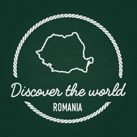 White chalk texture hipster insignia with Romania map on a green blackboard. Grunge rubber seal with country outlines, vector illustration. Illustration