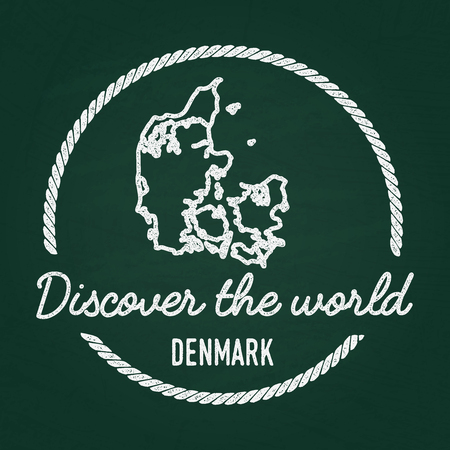 White chalk texture hipster insignia with Kingdom of Denmark map on a green blackboard. Grunge rubber seal with country outlines, vector illustration.