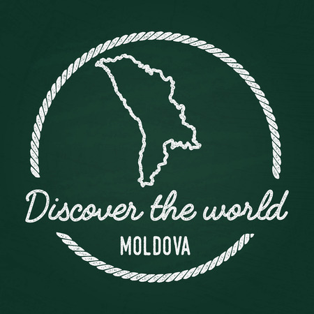 White chalk texture hipster insignia with Republic of Moldova map on a green blackboard. Grunge rubber seal with country outlines, vector illustration.
