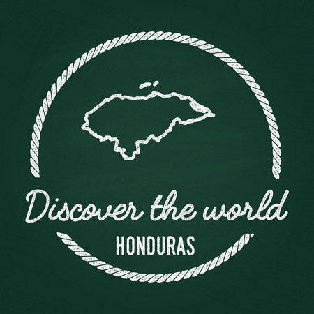 White chalk texture hipster insignia with Republic of Honduras map on a green blackboard. Grunge rubber seal with country outlines, vector illustration. Illustration