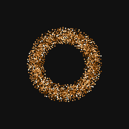 Red round gold glitter. Smal bagel with red round gold glitter on black background. Curious Vector illustration.