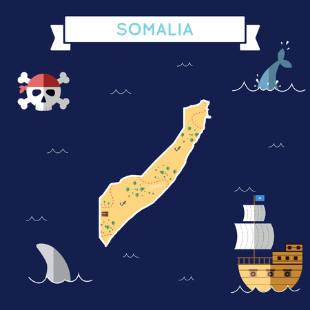 Flat treasure map of Somalia. Colorful cartoon with icons of ship, jolly roger, treasure chest and banner ribbon. Flat design vector illustration.