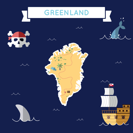 Flat treasure map of Greenland. Colorful cartoon with icons of ship, jolly roger, treasure chest and banner ribbon. Flat design vector illustration.