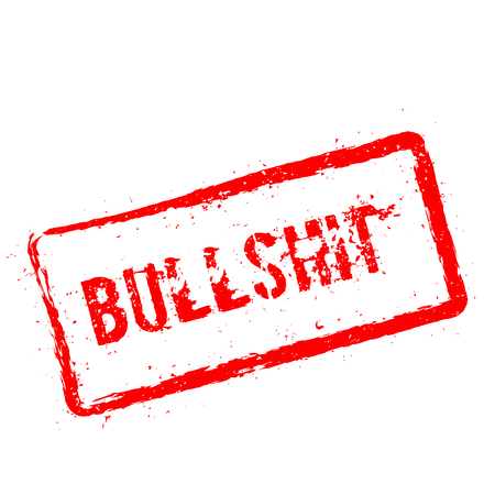 Bullshit red rubber stamp isolated on white background. Grunge rectangular seal with text, ink texture and splatter and blots, vector illustration.