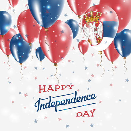 Serbia Vector Patriotic Poster. Independence Day Placard with Bright Colorful Balloons of Country National Colors. Serbia Independence Day Celebration.