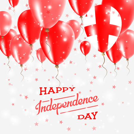 Georgia Vector Patriotic Poster. Independence Day Placard with Bright Colorful Balloons of Country National Colors. Georgia Independence Day Celebration.