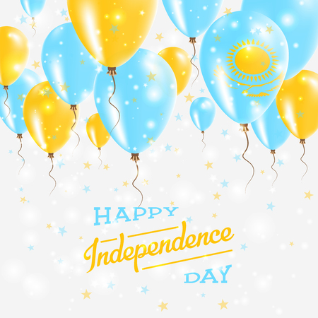 Kazakhstan Vector patriotic poster. Independence Day placard with bright colorful balloons of national colors. Kazakhstan Independence Day celebration.