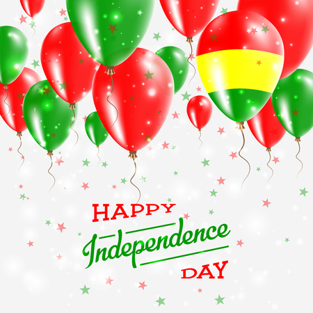 Bolivia vector patriotic poster. Independence Day placard with bright colorful balloons of country national colors. Bolivia Independence Day celebration.