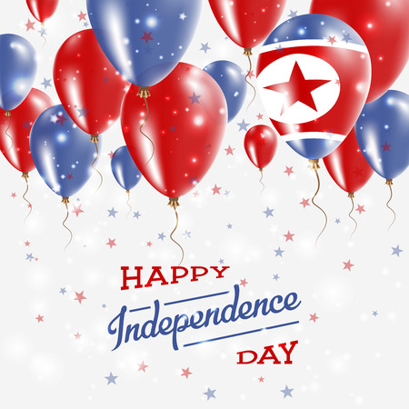 Korea, Democratic Peoples Republic Of Korea vector patriotic poster. Independence Day placard with bright colorful balloons of country national colors.