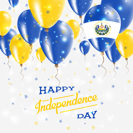 El Salvador Vector Patriotic Poster. Independence Day Placard with Bright Colorful Balloons of Country National Colors. El Salvador Independence Day Celebration. Illustration